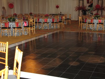 Custom Black Slate Dance Floor with White Slate Border, at The Four Seasons Resort Wailea, Maui