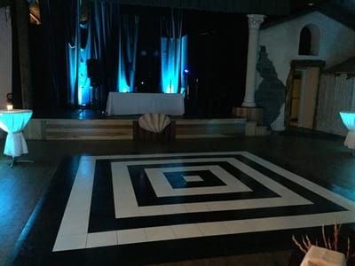 Custom Black & White Slate Dance Floor at The Maui Tropical Plantation in Waikapu